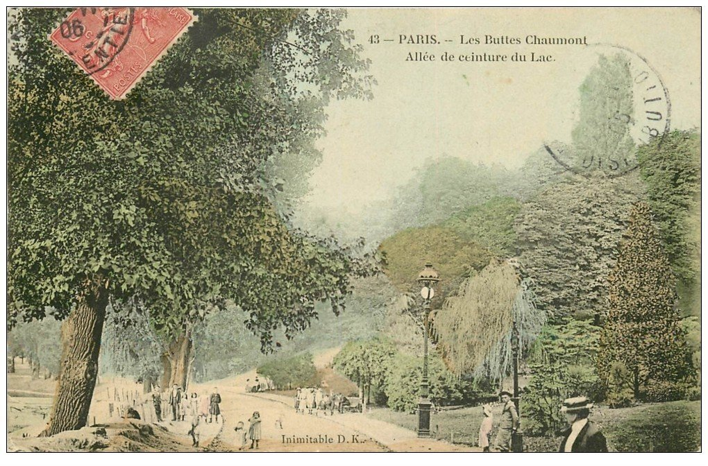 Carte Buttes Chaumont.Paris 19 Buttes Chaumont Allee Ceinture Du Lac 1906