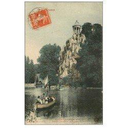 carte postale ancienne PARIS 19. Buttes Chaumont. Bateau Passeur 1910 et Belvédére