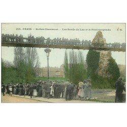 carte postale ancienne PARIS 19. Buttes Chaumont. Bords du Lac et Pont 1906