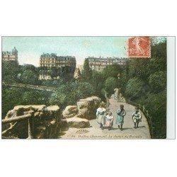 carte postale ancienne PARIS 19. Buttes Chaumont. Chemin du Belvédére 1909
