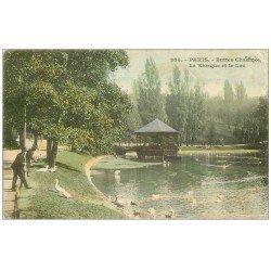 carte postale ancienne PARIS 19. Buttes Chaumont. Kiosque et Lac