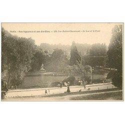 carte postale ancienne PARIS 19. Buttes Chaumont. Lac et Pont