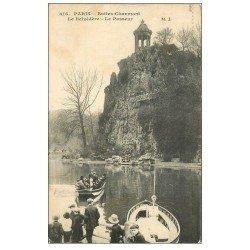 carte postale ancienne PARIS 19. Buttes Chaumont. Le Passeur 1915