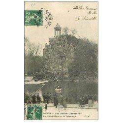 carte postale ancienne PARIS 19. Buttes Chaumont. Le Passeur et Belvédére 1908