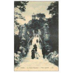 carte postale ancienne PARIS 19. Buttes Chaumont. Le Pont suspendu 1904
