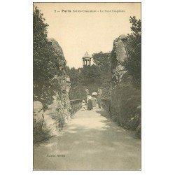 carte postale ancienne PARIS 19. Buttes Chaumont. Le Pont suspendu 2