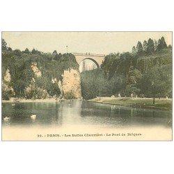 carte postale ancienne PARIS 19. Buttes Chaumont. Pont de Briques