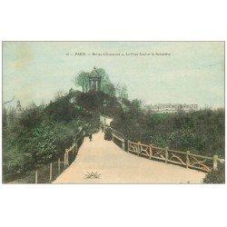 carte postale ancienne PARIS 19. Buttes Chaumont. Pont fatal et Belvédére