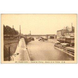 carte postale ancienne PARIS 19. Canal de l'Ourcq Bassin de la Villette péniches