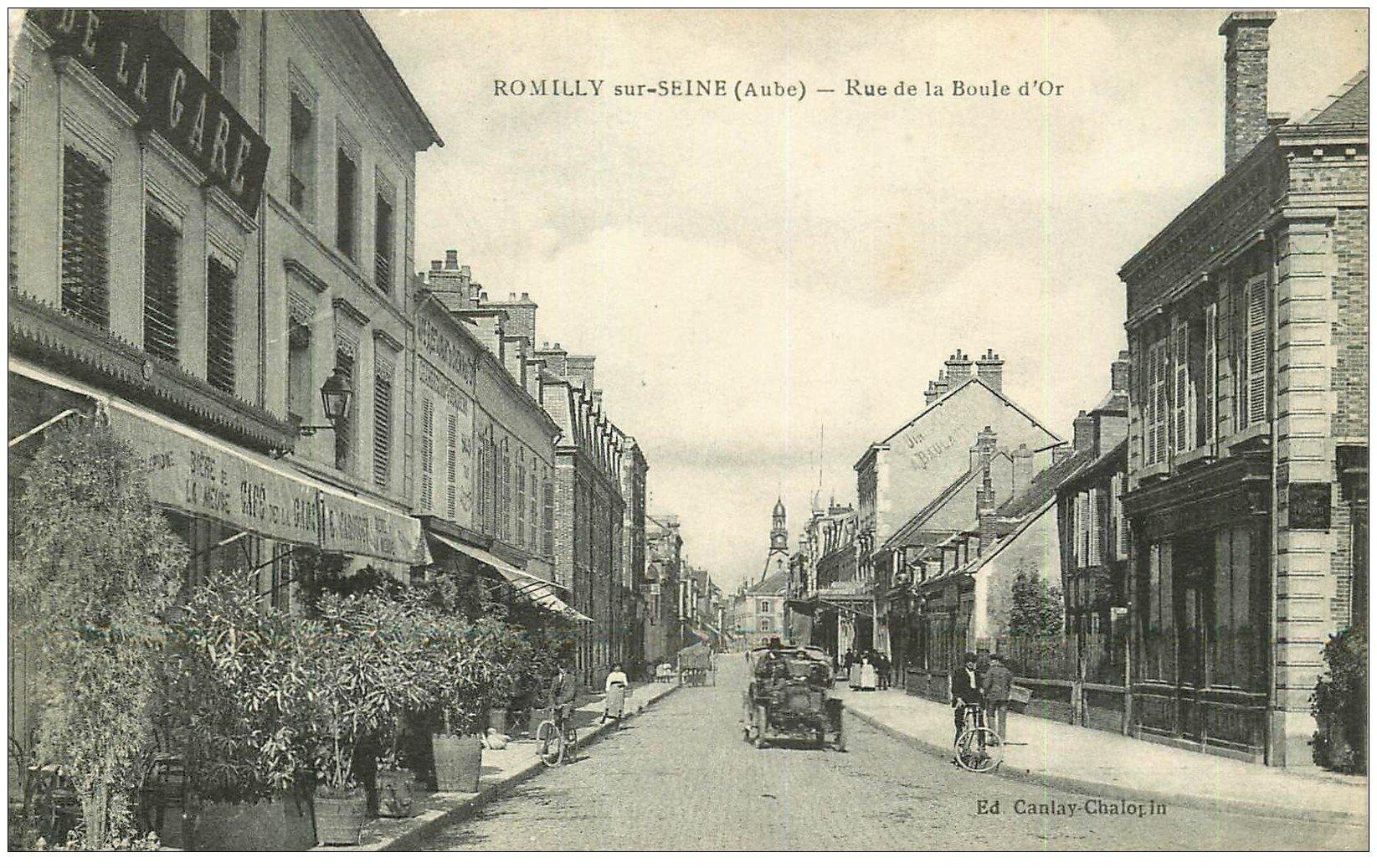 10 romilly sur seine rue de la boule d 39 or 1916 voiture tacot et caf de la gare. Black Bedroom Furniture Sets. Home Design Ideas