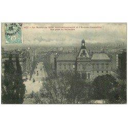 carte postale ancienne PARIS 19. La Mairie Avenue Laumière 1905