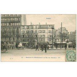 carte postale ancienne PARIS 20. Boulevard Ménilmontant à la Rue des Amandiers 1906