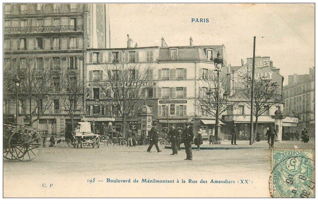 Paris 20 boulevard m nilmontant la rue des amandiers 1906 for 18 rue de la chaise