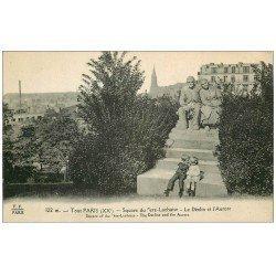 carte postale ancienne PARIS 20. Cimetière Père Lachaise. Déclin et Aurore au Square. Pour Montréal qu'en 1966...