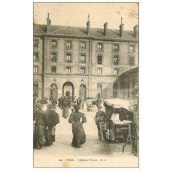 carte postale ancienne PARIS 20. Hôpitaux Hôpital Tenon rue de la Chine. L'Entrée et vendeur ambulants