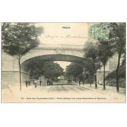 carte postale ancienne PARIS 20. Pont reliant rues Stendhal et Ramus 1907