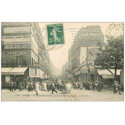carte postale ancienne PARIS 20. Rue et Boulevard de Belleville 1912