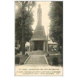 carte postale ancienne PARIS EXPOSITION DES ARTS DECORATIFS 1925. Pavillon Mausolée aux Morts des Batailles de Champagne