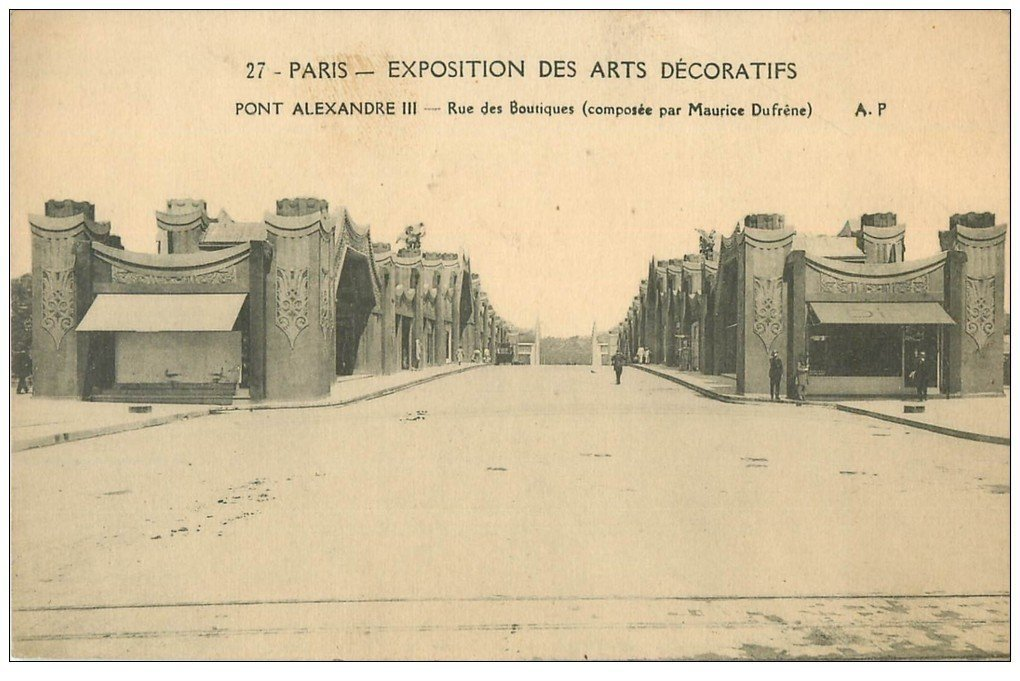 carte postale ancienne PARIS EXPOSITION DES ARTS DECORATIFS 1925. Pont Alexandre III rue des Boutiques