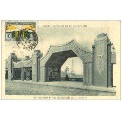 carte postale ancienne PARIS EXPOSITION DES ARTS DECORATIFS 1925. Pont Alexandre rue des Boutiques