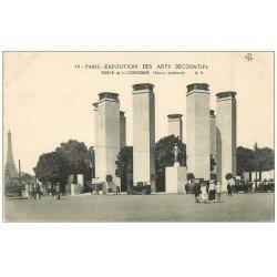 carte postale ancienne PARIS EXPOSITION DES ARTS DECORATIFS 1925. Porte Concorde