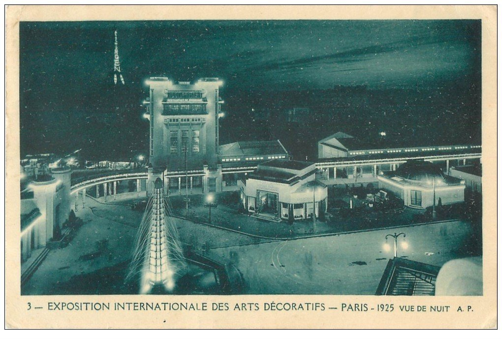 carte postale ancienne PARIS EXPOSITION DES ARTS DECORATIFS 1925. Restaurant et Tour Eiffel