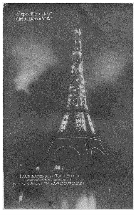 carte postale ancienne PARIS EXPOSITION DES ARTS DECORATIFS 1925. Tour Eiffel