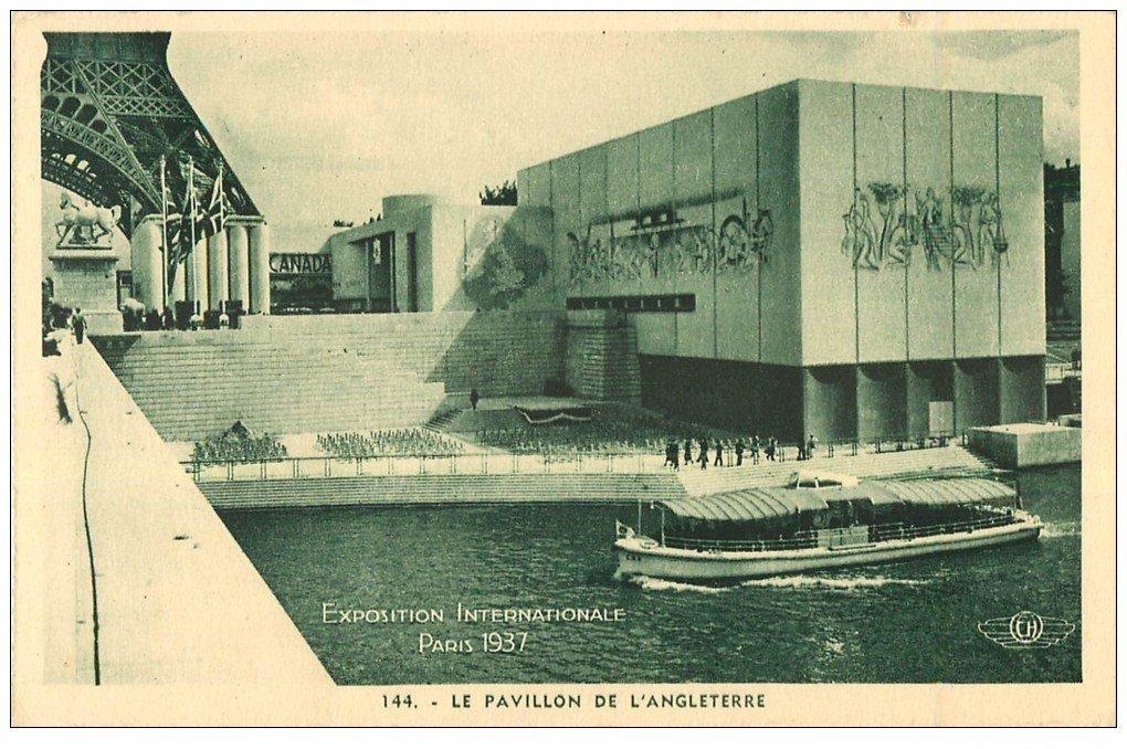 carte postale ancienne PARIS EXPOSITION INTERNATIONALE 1937. Pavillon Angleterre 144