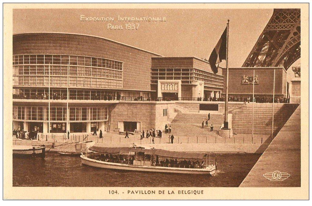 carte postale ancienne PARIS EXPOSITION INTERNATIONALE 1937. Pavillon Belgique