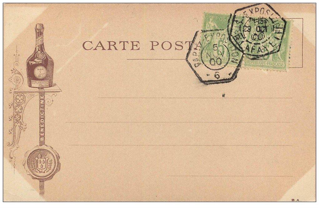 carte postale ancienne PARIS EXPOSITION UNIVERSELLE 1900. Grand Palais. Bénédictine et Timbres 5 centimes