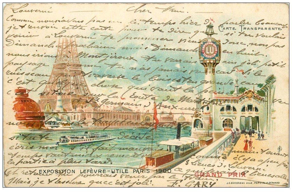 PARIS EXPOSITION UNIVERSELLE 1900. Grand Prix. Gaufrettes LU carte à Système par transparence sous la Lumière