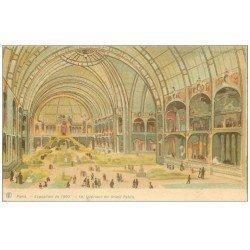 carte postale ancienne PARIS EXPOSITION UNIVERSELLE 1900. Intérieur Grand Palais