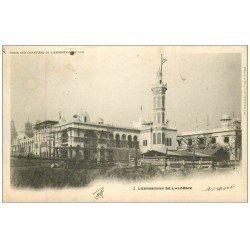 carte postale ancienne PARIS EXPOSITION UNIVERSELLE 1900. Les Chantiers Algérie. Timbre 5 centimes 1900 + Timbre Taxe 10 ct