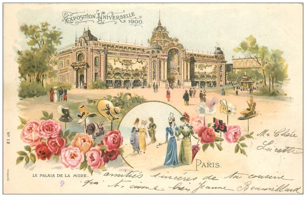 carte postale ancienne PARIS EXPOSITION UNIVERSELLE 1900. Palais de la Mode. Timbre 5 Centimes 1900