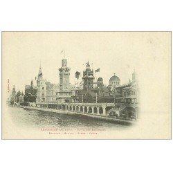 carte postale ancienne PARIS EXPOSITION UNIVERSELLE 1900. Pavillons espagne, Monaco, Suède et Grèce