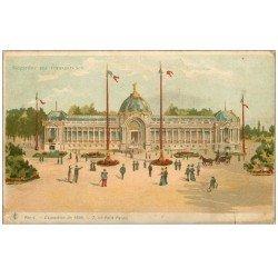 PARIS EXPOSITION UNIVERSELLE 1900. Petit Palais. Carte à Système par transparence lumières dans la Nuit...