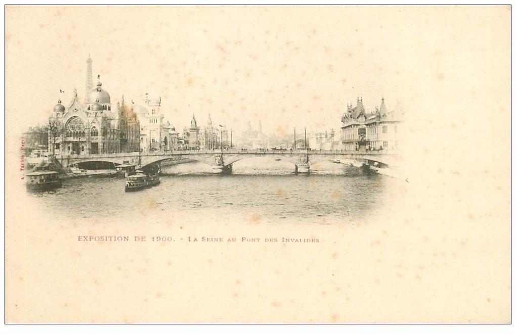 carte postale ancienne PARIS EXPOSITION UNIVERSELLE 1900. Pont des Invalides