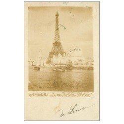 carte postale ancienne PARIS EXPOSITION UNIVERSELLE 1900. Tour Eiffel et Globe Céleste. Timbre 5 Centimes 1900