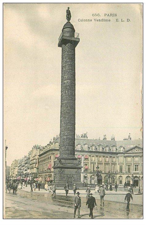 carte postale ancienne PARIS I°. Colonne Vendôme colorisée