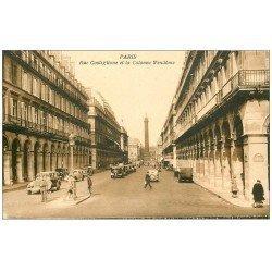 carte postale ancienne PARIS I°. Colonne Vendôme rue Castiglione 1938