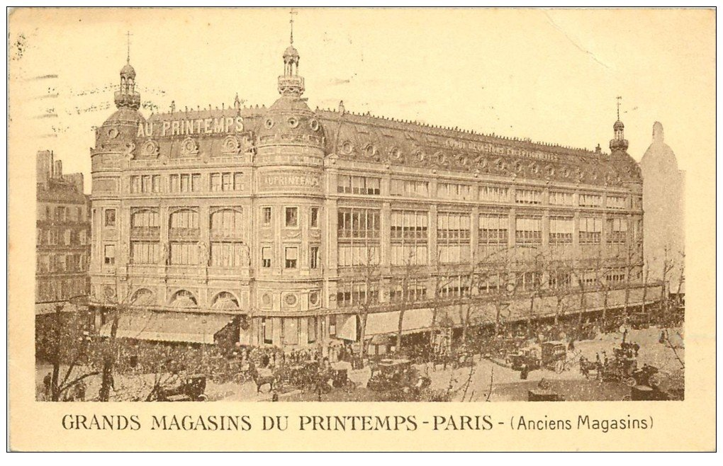carte postale ancienne PARIS I°. Grands Magasins du Printemps. Carte correspondance 1923