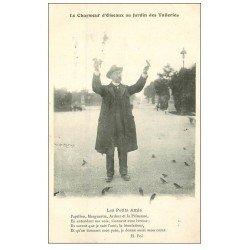 carte postale ancienne PARIS I°. Jardin Tuileries le Chameur d'Oiseaux. Vieux Métiers