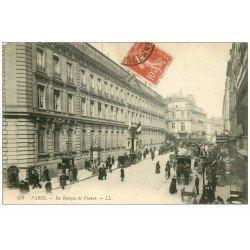 carte postale ancienne PARIS I°. La Banque de France rue Croix des Petits Champs. Au loin José...