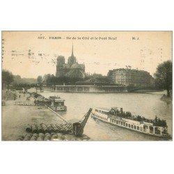 carte postale ancienne PARIS I°. La Cité et Pont Neuf 1915