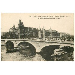 carte postale ancienne PARIS I°. La Conciergerie et Pont au Change