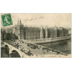 carte postale ancienne PARIS I°. La Conciergerie et Pont au Change 1913