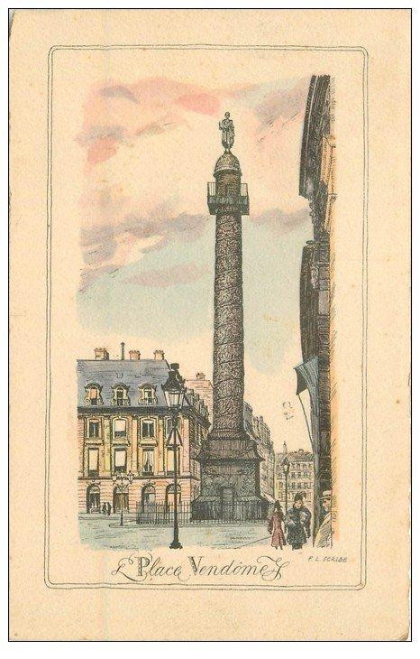 carte postale ancienne PARIS I°. La Place Vendôme 1945 par Scribe