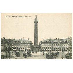PARIS 01. La Place Vendôme et Colonne Fiacres et Taxis