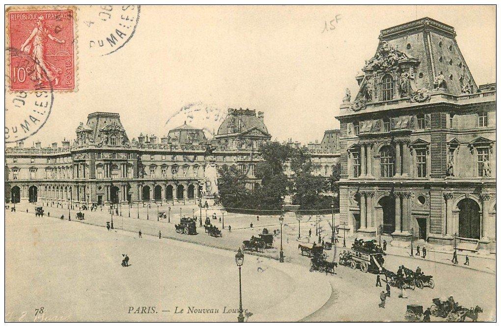 carte postale ancienne PARIS I°. Le Louvre Nouveau 1906