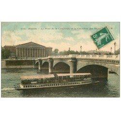 carte postale ancienne PARIS I°. Le Pont Concorde Chambre Députés. Bateau Mouche DUBONNET. Carte verso vierge
